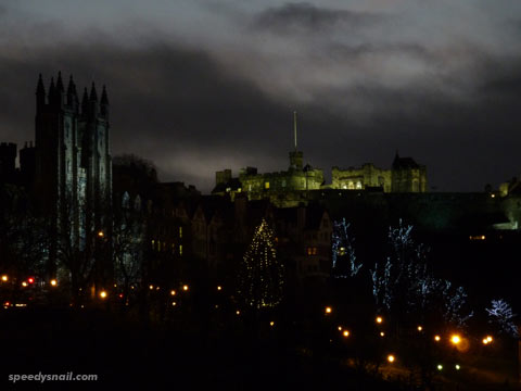 Edinburgh Castle at dusk, 22 December 2011